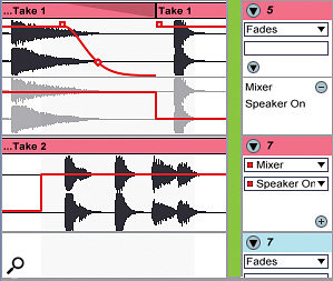 2: To create a more natural transition, the Speaker On breakpoint has been moved later for Take 1. This is then split at the breakpoint and a fade envelope is used to shorten the clip's tail.