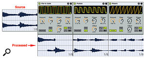 2: Pictured here are three different LFO wave shapes used to chop atwo-bar stereo chords clip. Pan & Gate (left) uses areshaped sine wave to gate out the last half-note of the two-bar pattern, which is panned left, centre and right respectively for the first three half-note segments. You can precede Auto Pan with anarrow-width Utility to reduce or eliminate that panning. Pulses (centre) uses areshaped sawtooth pattern to chop the chords. Change the Offset setting (try multiples of 45 degrees) to control where the pulses fall. Risers (right) produces afade-in at each half-note. Notice that the Invert button flips the sawtooth shape from falling to rising.