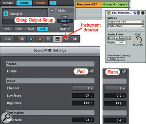 2: This is the Live and Maschine setup for layering two instruments; a piano and a pad. The MIDI Sound Settings ensure that both sounds receive MIDI on channel 2. The Group Output Setting sends the Group A audio to Maschine Out 2, which is selected in the Live track's External Instrument's 'Audio From' drop-down menus.
