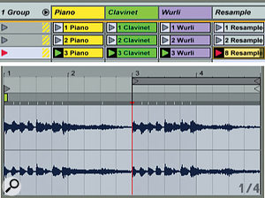 2: At the top, two-bar piano, Clavinet and Wurli parts have been grouped along with an audio track for resampling. At the bottom, two passes of the third Group Scene have been resampled to capture the tail in the second pass.
