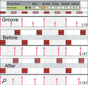 Here's an example of soft quantising with velocity scaling. The Groove clip consists of quantised eighth notes with the off-beat eighths' velocities reduced. The Before clip is an eighth-note triplet swing pattern, and the After clip is the result of quantising and then clicking the Commit button. Notice that the off-beat eighth notes have been moved left by 30 percent of the way to straight eighth-note positions and have had their velocities lowered. That's the effect of the 30 percent Quantise and 50 percent Velocity settings.