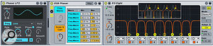 3: Using EQ Eight as a  comb filter provides an alternative to phasing. Try its L/R and M/S modes to apply different motion to the two channels as shown in the inset filter graphic.
