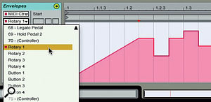 3: The MIDI Ctrl drop-down menu for Live's Clip Envelopes shows the Combinator Rotaries and Buttons by name when the Live track is routed to aCombinator. You can then draw in control curves as illustrated here.
