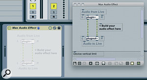 Clicking the Edit button, here highlighted to the left, next to hot‑swap and presetsave, opens the Audio Effect inMax.