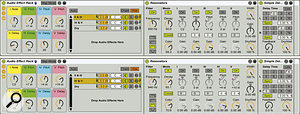 Both effects here are set to 100 percent wet in order to suppress the source (drums), which can then be mixed in without any resonator or delay processing by adjusting the volume of the empty chain labelled 'Dry'. The setup shown produces a C7 chord from each drum hit. Each chord will be arpeggiated at 2, 3, 4 and 5 16th‑notes after the drum hit.