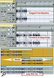 3: Audio dragged from Maschine has the wrong Warp tempo and sequence length (top). After adjusting those (middle), you can render the loop with an overlapping tail (bottom).