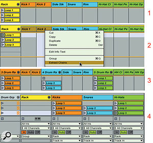 3: From the top: (1) the original Drum rack with kicks, snares and hi-hats colour-coded and rearranged by type, (2) extracting the kick kit pieces, (3) all kit pieces extracted along with split MIDI loops, (4) split MIDI loops grouped with and routed back to the original Drum rack.