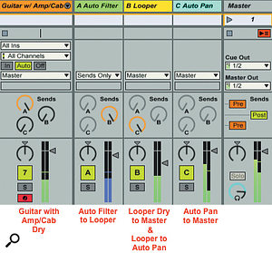 3: Looper's Return track is preceded and followed by Return tracks for pre-Looper and post-Looper processing. The guitar track feeding Looper holds amp and cabinet effects, and its pre-fader output is sent to Auto Filter while its post-fader output supplies the dry, amped guitar. Auto Filter's output is sent only to Looper. Looper's output is sent pre-fader to Auto Pan and post-fader to the Master output.