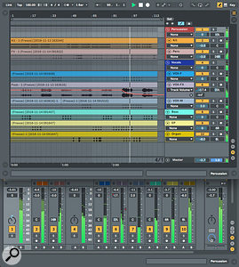 Screen 2: Each of the tracks of a finished song has been converted to an audio clip spanning the full length of the song. You can edit the resulting tracks and Groups before mastering and rendering the song.