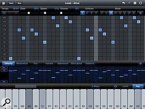 4: The iPad application StepPolyArp combines a step sequencer with an arpeggiator. The arpeggiator pattern transposes individual sequence steps.