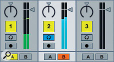 The blue headphones icon to the left of each channel fader tells us that, when lit, that track is being routed to the monitor/headphone outputs, just as on a traditional hardware DJ mixer.