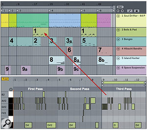 Screen 2: Nine instrumental parts are added to the percussion arrangement from screen 1 using Arrangement view Capture. Letters denote edits to captured clips.