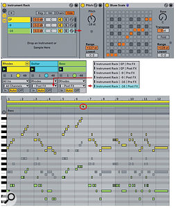Screen 3: The Instrument Rack (top) on the piano track feeds transposed and scale-corrected notes to the bass and guitar tracks. The three clips are captured simultaneously and displayed using Multi-Clip editing.