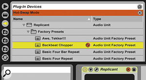 Audio Unit presets are, like Live's built‑in presets, hot‑swappable.