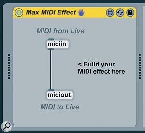 The default Max MIDI Effect: asoftware MIDI Thru.