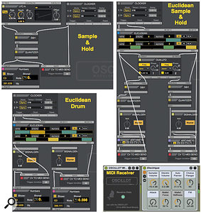 Screen 1: These fairly simple OSCiLLOT patches illustrate a  sample & hold note generator, a  Euclidean drum sequencer and a  combination of the two that uses the Euclidean rhythm to drive dual sample & hold patches. The MIDI Receiver routes the patches to Live tracks.