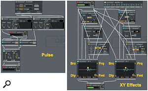 Screen 2: The Pulse audio effect (left) creates pulses from incoming audio. The XY Effects audio effect controls the mix of the source and three effects: delay, frequency shifter and formant filter.