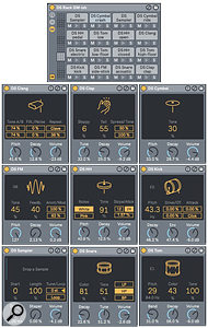 Screen 2: The General MIDI-compatible 16-pad Drum Rack (top) is made entirely of Max For Live DS modules from Live 10's Core Library Pack.