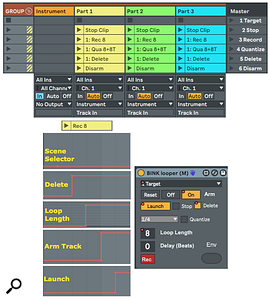 Screen 1: A Track Group template with an instrument track and three BinkLooper tracks for real‑time layering of MIDI tracks.