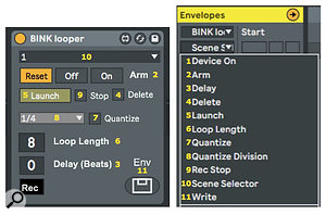 You can set BinkLooper's 11 parameters manually or, more to the point, with clip envelopes.