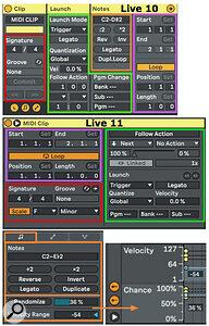 Screen 1. Live 11's rearranged MIDI Clip view.