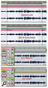 1: A loop in an Arrangement view audio clip is captured, split and consolidated, warped and then shrunk to match its true length of four bars.