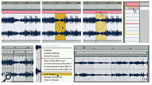 2: To copy a section of audio from Arrangement view to Session view without disturbing the original, first select the area to extract and then click-drag on the clip's label while using the Tab key to switch to Session view.