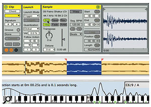 3: An audio clip comprising a piano chord is opened for analysis in Seventh String Software's Transcribe! (bottom).