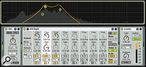 4: In this clip, piano is on the left, bass is in the middle and drums are on the right. Utility solos the right channel (drum and bass), and EQ Eight emphasises the bass frequencies. Limiter then suppresses the loudest drum transients allowing you to bring up the bass level.