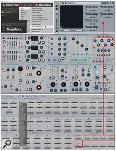 Screen 1: Cloudlab's control panel (middle) has an associated patching panel of drop-down menus (bottom). Cloudlab's six output-level knobs are configured as Live sliders in the Reaktor plug-in (top).