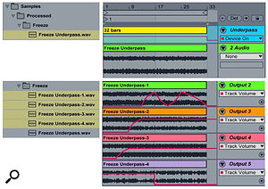 Screen 2: An empty 32-bar MIDI clip in the Arrangement is used to Freeze the output of the Cloudlab 'Underpass' Snapshot (top). The same MIDI clip is used to Freeze the single-output versions shown with track volume automation (bottom).