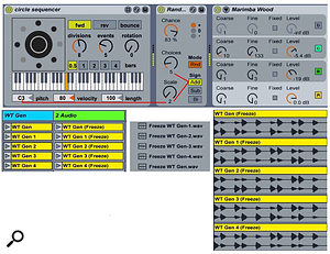 Screen 3: The Max For Live Euclidean-style Circle Sequencer (top) plays MIDI note C3 in the eight-step, 16th-note pattern: xxx. The note pitches are randomised in whole-tone steps with Live's Random MIDI effect. Freezing multiple one-bar MIDI clips generates different whole-tone pitch patterns (bottom).