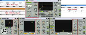 Live's Auto Filter, Dynamic Tube, Flanger and Phaser have built–in envelope followers (boxed in red) to control a  single parameter. Auto Filter's implementation is the most versatile in that it allows for side–chain input to the envelope follower. Here Auto Filter is set up for a  variant of ducking: kick–drum hits momentarily raise the cutoff of a  high–pass filter applied to the bass track to get it out of the way of the kick.