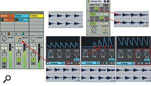 The Max For Live Envelope Follower audio effect is inserted on the Drums track with its envelope output mapped to the Send A  knob on the Guitar track. The A  Return track holds a  Simple Delay set for two– and three–16th–note delays. The waveform graphics at the top show the guitar loop before and after Simple Delay without using Envelope Follower. The bottom waveform graphics show the results with the Envelope Follower settings shown above them.