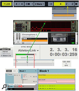 Screen 2: When using Ableton Link, scroll bars in Reason and Live indicate the Link clock position. Playback in either application starts when the scroll bar position matches the playhead position.
