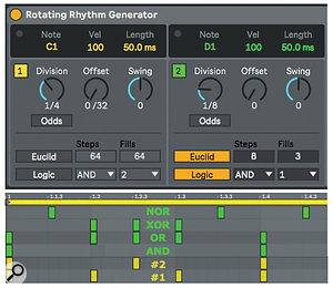 Screen2: RRG's Euclid and Logic modules provide diverse note distributions along with dependency between note generators.