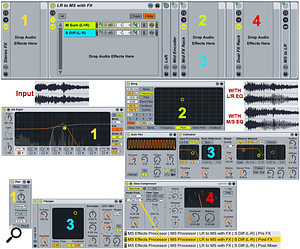 Screen 3: The shell M-S Processing Rack at the top saves a  lot of time when setting up M-S effects. In the middle, separate channels of pre-M-S EQ are followed by different mid and sides effects. At bottom, the mod wheel is used to pan a  mono signal before M-S processing.