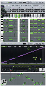 Screen 2: Cthulhu maps eight-note chords across the keyboard. Its versatile arpeggiator (bottom) can process Cthulhu chords or real-time input.