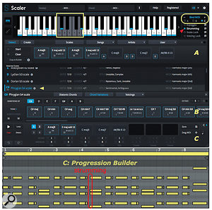 Screen 3: Scaler analyses its MIDI input to assign chords (A) and scales (B). It then generates alternatives from which you can create your own chord progressions (C).