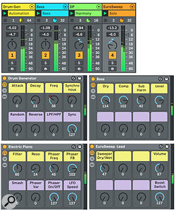 Screen 2: Each of the four tracks in this song holds an instance of the Reason VST instrument plug-in. The drum track again uses Redrum's sequencer, and the rest play MIDI files from their track.