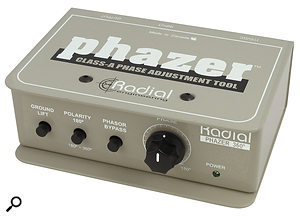 When combining the signals from a  microphone and a  DI, a  phase-alignment tool such as Radial's Phazer can help you make sure the two channels sum constructively.