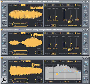 Screen 2: Convolution Reverb Pro setups for processing a drum loop with a pitched‑noise blast (top) and an orchestral strings loop with male and female voice clips.