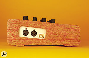 The Code is exclusively powered by USB and so features just aUSB socket and MIDI I/O ports.