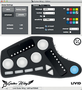 The Editor software allows you to precisely define the Guitar Wing's controls.
