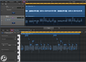 Screen 1: The red boxes outline where to turn Flex Mode on in the main page and the Audio Track Editor. The blue boxes show the locations of the Flex Mode pop–up menu from which we choose the Flex algorithm.