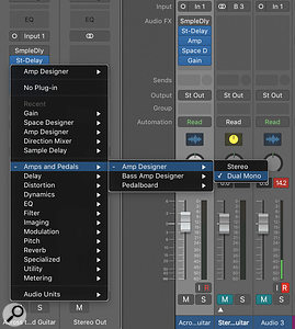 Screen 1: Adding a Dual Mono version of any insert plug-in is simple. Just navigate to the insert plug-in you want and then, from the fold-out menu, choose Dual Mono rather than Stereo.