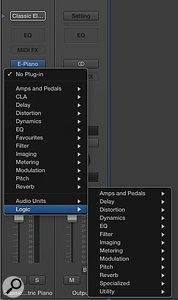 Picture 1: The new effects menu structure has three areas: the main section is a  selection of entirely customisable folders, 'Audio Units' contains your third-party plug-ins, and 'Logic' contains a  backup of the included Logic effects. This last section becomes useful if you have removed Logic's included effects from the customisable folders above.