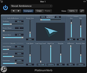 Play with PlatinumVerb's Balance ER/Reverb slider to adjust the ratio of early reflections to reverb. Try the settings from this screenshot for an ADT-plus-ambience effect on vocals.