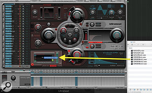 Picture 2:How to drag and drop a  sample into Ultrabeat. The kick sample on the C1 key is being replaced here.