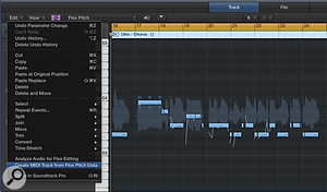 Screen 3: In the Audio Track Editor, quantise your vocal's pitch to the key of the song, then export the MIDI note data to a  new track using the Create MIDI Track from Flex Pitch Data option. This cleaned-up MIDI part is perfect for driving Logic's Vocoder to create a  synthesized doubling effect.